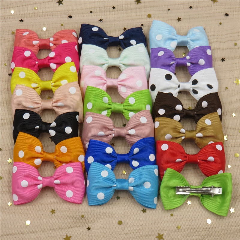 1PCS Dots Solid Grosgrain Ribbon Hairpins Bow For Girl Bohemian Headband Clips Scrunchy Fashion Kid Hair Accessories For Women
