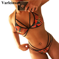 African Style Sexy Thong Print Bikini Swimwear Women Swimsuit Halter Biquini Bathing Suit Bather Maillot De
