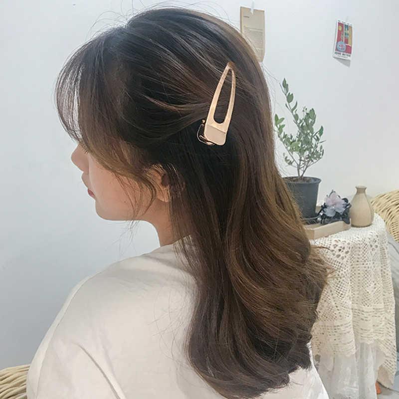 Nuevo diseño horquilla 1 uds/2 uds Corea Simple Metal dorado pico de pato hueco pinza flequillo Clip LATERAL horquilla con perlas horquillas