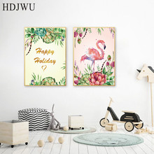 Nordic Art Home Decor Canvas Painting Hand-painted Animal Flowers Printing Wall Poster for Living Room  DJ122