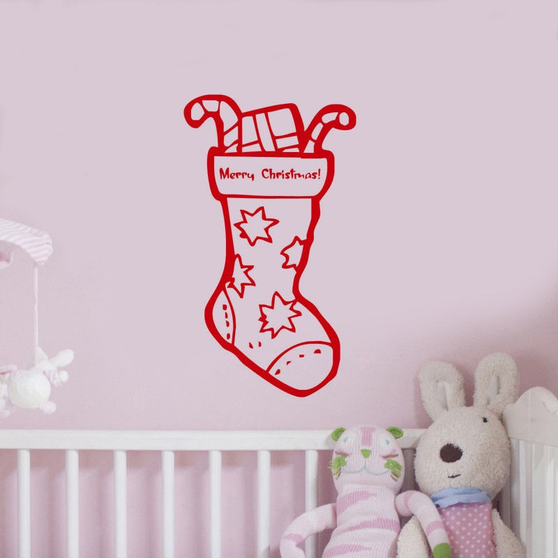 Snowman Socks Kids Room Christmas Decorative Vinyl Wall Sticker Shop Window Mural Nurser ...