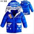 Зимой дети хлопка вниз пальто мальчики Робот мультфильм изображения длинный участок пуховик бесплатная доставка
