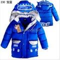 Crianças de inverno de algodão para baixo casaco meninos Robô dos desenhos animados imagens de longa seção para baixo jaqueta transporte livre