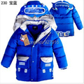 winter children cotton down coat boys Robot cartoon images long section down jacket free shipping