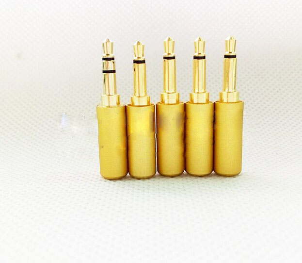 100pcs free shipping Aluminum gold 3.5mm mono Plug for cable Audio Connector areyourshop hot sale 50 pcs musical audio speaker cable wire 4mm gold plated banana plug connector