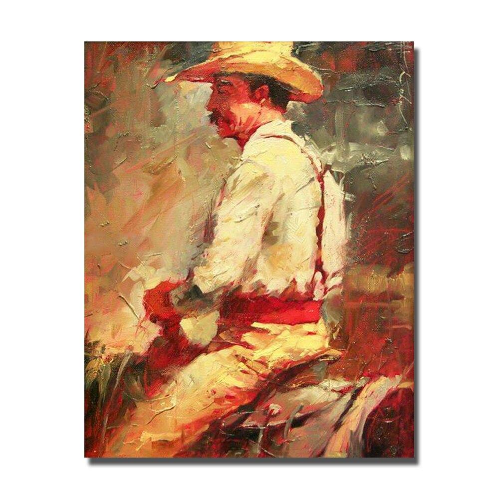 Лошадь работает картина маслом современный стиль человек, верховая езда холсте маслом для гостиной украшения