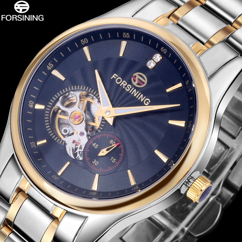 2017 FORSINING China brand men watches dress automatic self wind watch black tourbillion dial imported 316L stainless steel band tevise fashion auto date automatic self wind watches stainless steel luxury gold black watch men mechanical t629a with tool