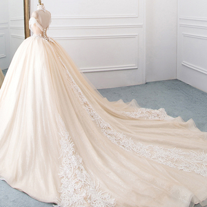 Image 3 - Vestido de novia de cuello alto, novedad, vestidos de princesa de tul, Hochzeitskleid, Mangas de borla, Abiti da Sposa, brillante, Mariee