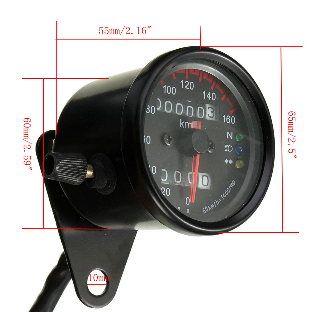 DC 12V Universal Motorcycle Speedometer Odometer Dual LED Backlight Night  Readable Speed Meter Gauge Motorbike Instrument km/h-in Instruments from ...