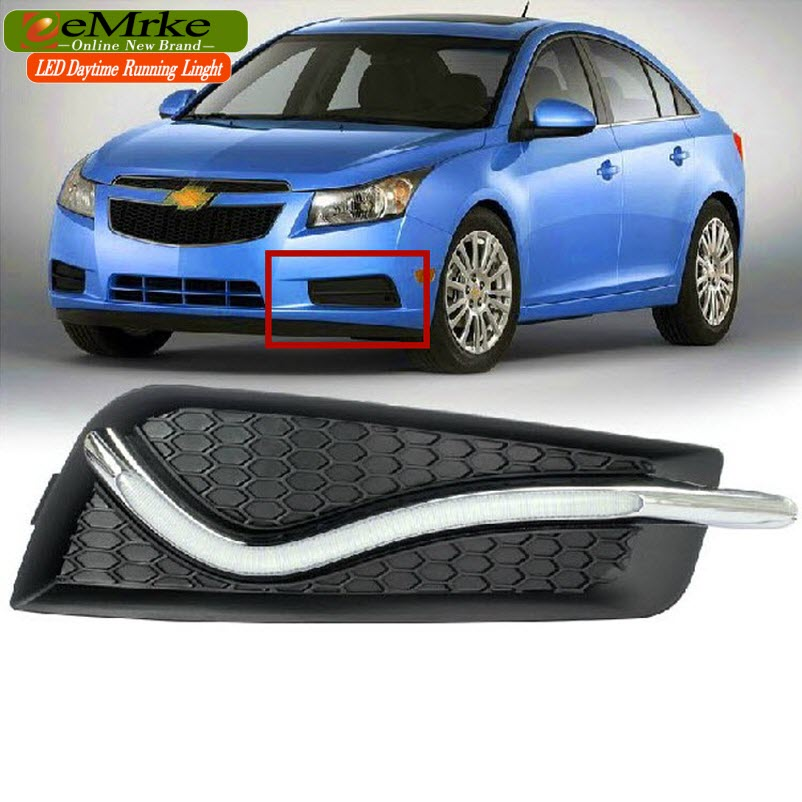 eeMrke Car LED DRL For Chevrolet Cruze J300 High Power Xenon White Fog Cover Daytime Running Lights Kits  недорого