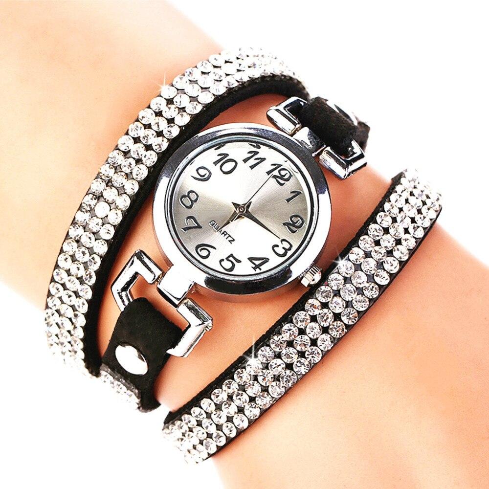 2017 New Luxury Crystal Rhinestone Watch Women Watches Leather Bracelet Wristwatch reloj mujer horloges vrouwen wrap bracelet gold dial digital red leather strap ladies luxury quartz watch horloges vrouwen women watches wristwatch megir 382