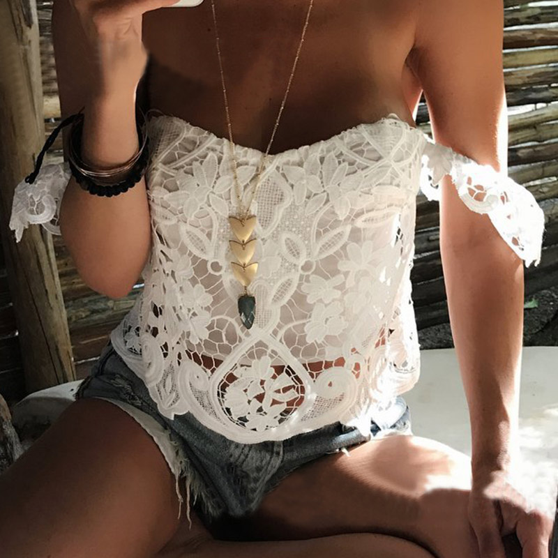 Women Sexy Crop Tops 2018 Summer Lace Blouses Slash Neck Off The Shoulder Short Sleeve Blusas Shirts Plus Size Top Femininas