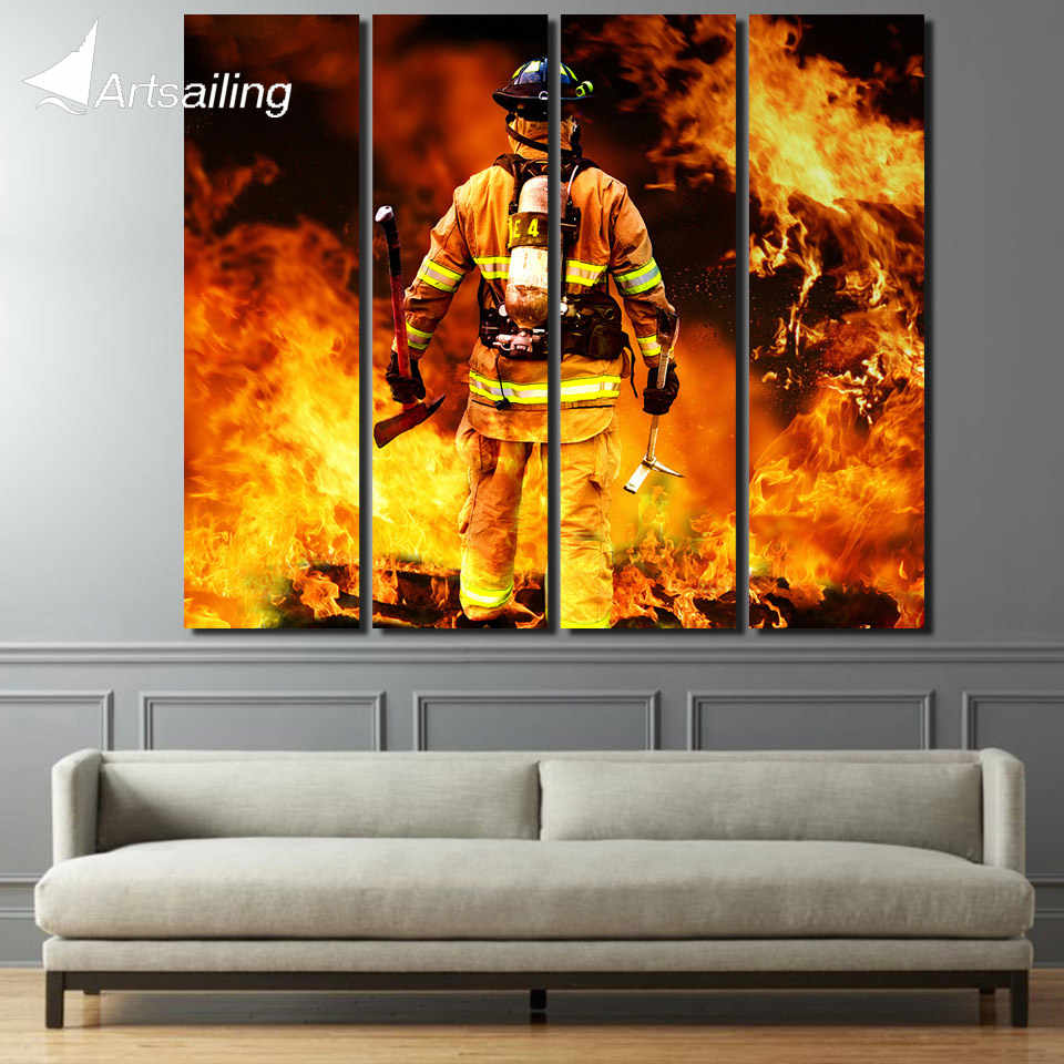 4 piece canvas art Fireman Firefighter painting wall decoration wall picture canvas prints large art prints up-1361D