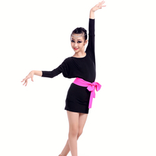6pcs/lot Childrens Long Dolman Sleeves Dancing Dress Waist Bowknot Style Dresses Ballroom Clubhouse Costumes tls304