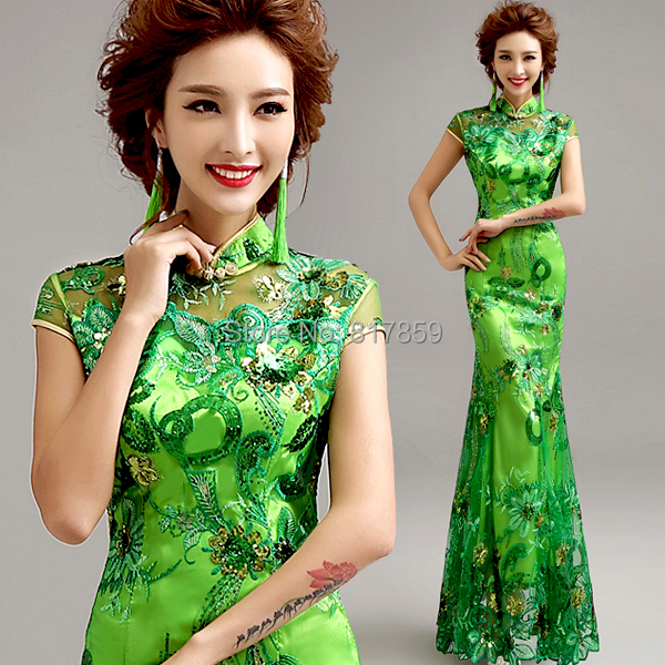 Chinese Embroidery Green Lace Short Sleeve Mermaid Dress Cheongsam Long Bridal Wedding Hostess Evening Celebrity Dresses