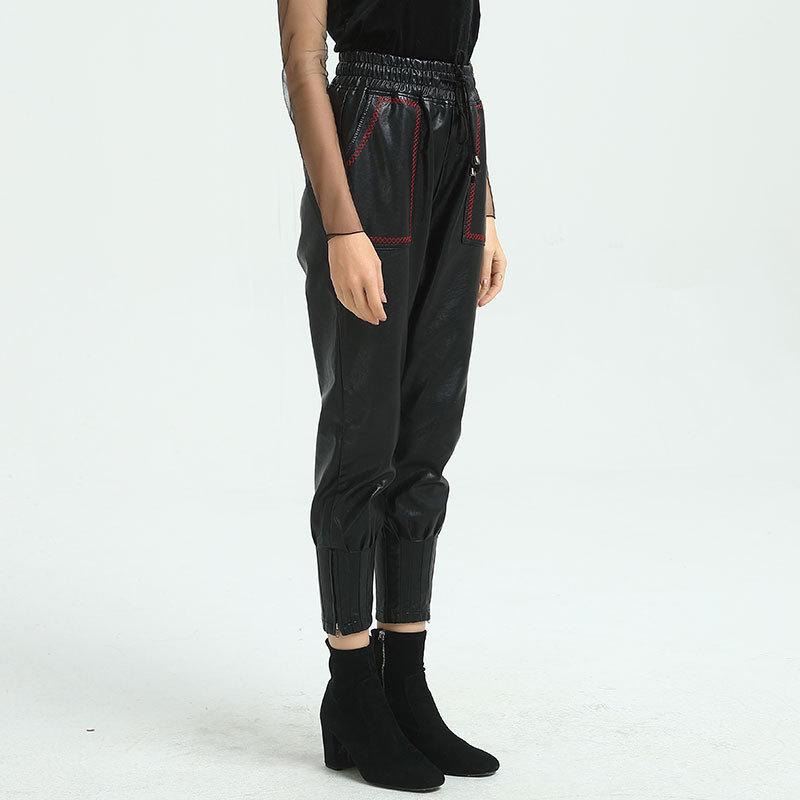 Aumento Del Pantalon Nueva Elástica Black Mujeres Mujer Pu Haren Cintura Aumentar Fertilizante Alta Wqjgr Pantalones Femme wqPAava