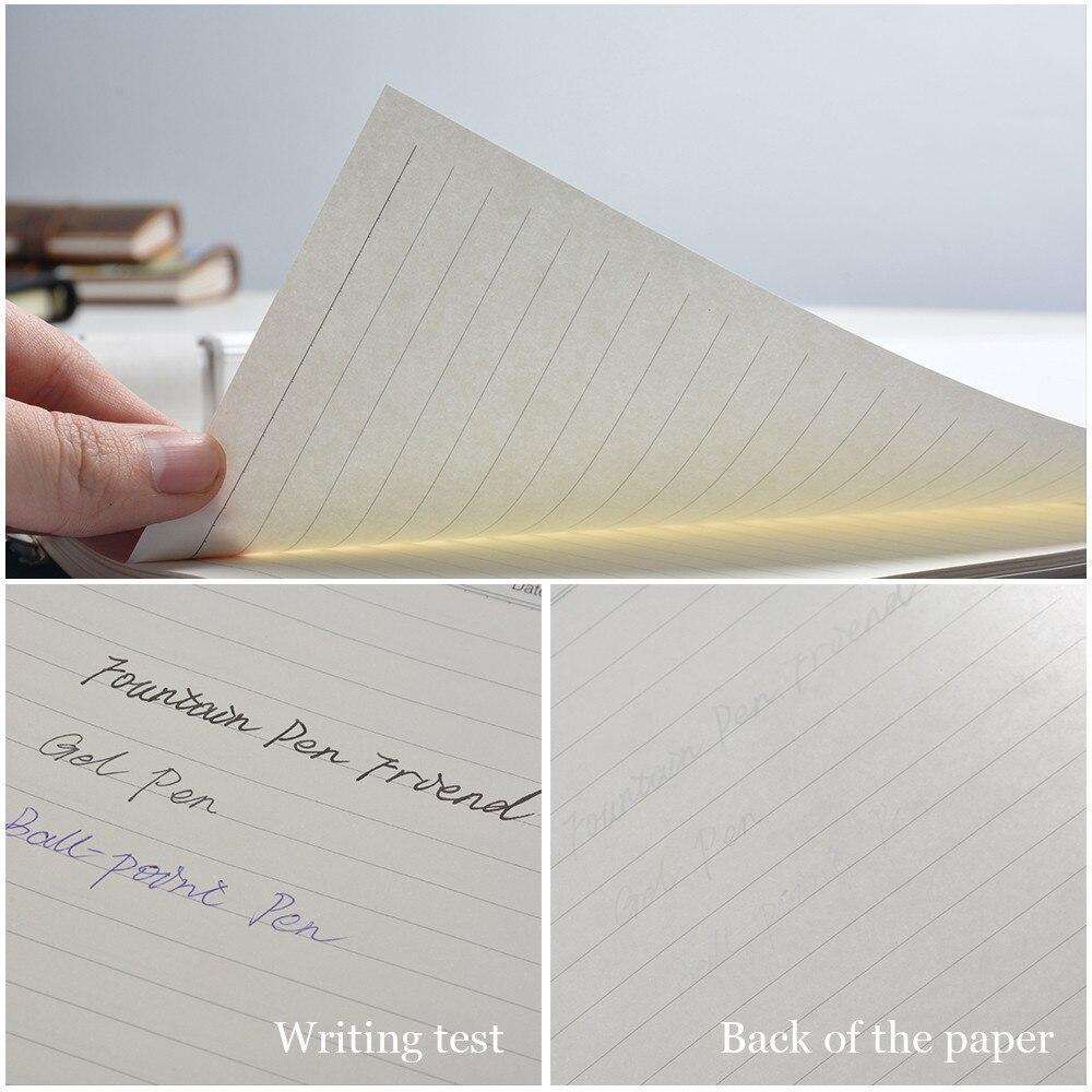 Handnote Vintage en cuir véritable carnet de notes Journal de voyage planificateur carnet de croquis Agenda bricolage recharge papier école cadeau d'anniversaire - 5