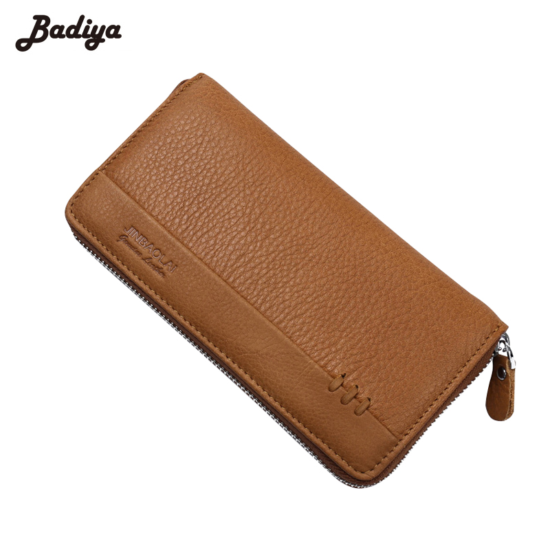 Genuine Leather Cowhide Vintage Men Wallets Long Clutches Dollar Price Purse Zipper Card Holders Male Walets Carteira Masculina