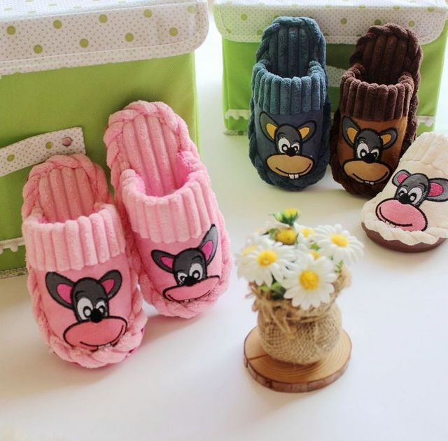 0c25a14f063 2-8T Children slippers cartoon cute mouse cotton slippers Plush winter home  boys girls flip
