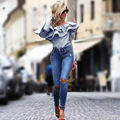 YEMUSEED One shoulder ruffles blouse shirt women tops 2017 autumn Casual blue striped shirt Long sleeve cool blouse winter