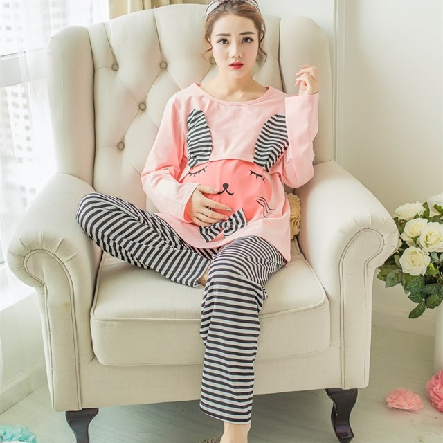 Cartoon Knitted Cotton Maternity Nursing Pajamas Suits Cute Cartoon Autumn Breast Feeding Breastfeeding Lounge Sleepwear Sets