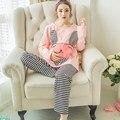 Dos desenhos animados de Malha de Algodão Maternidade Aleitamento Materno Aleitamento Materno Enfermagem Pijamas Ternos Bonitos Dos Desenhos Animados Outono Salão Sleepwear Conjuntos