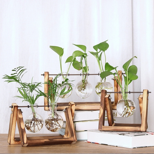 Desktop Glass Planter Vase with Retro Solid Wooden Stand and Metal Swivel Holder for Hydroponics Plants Home Wedding Decoration 3