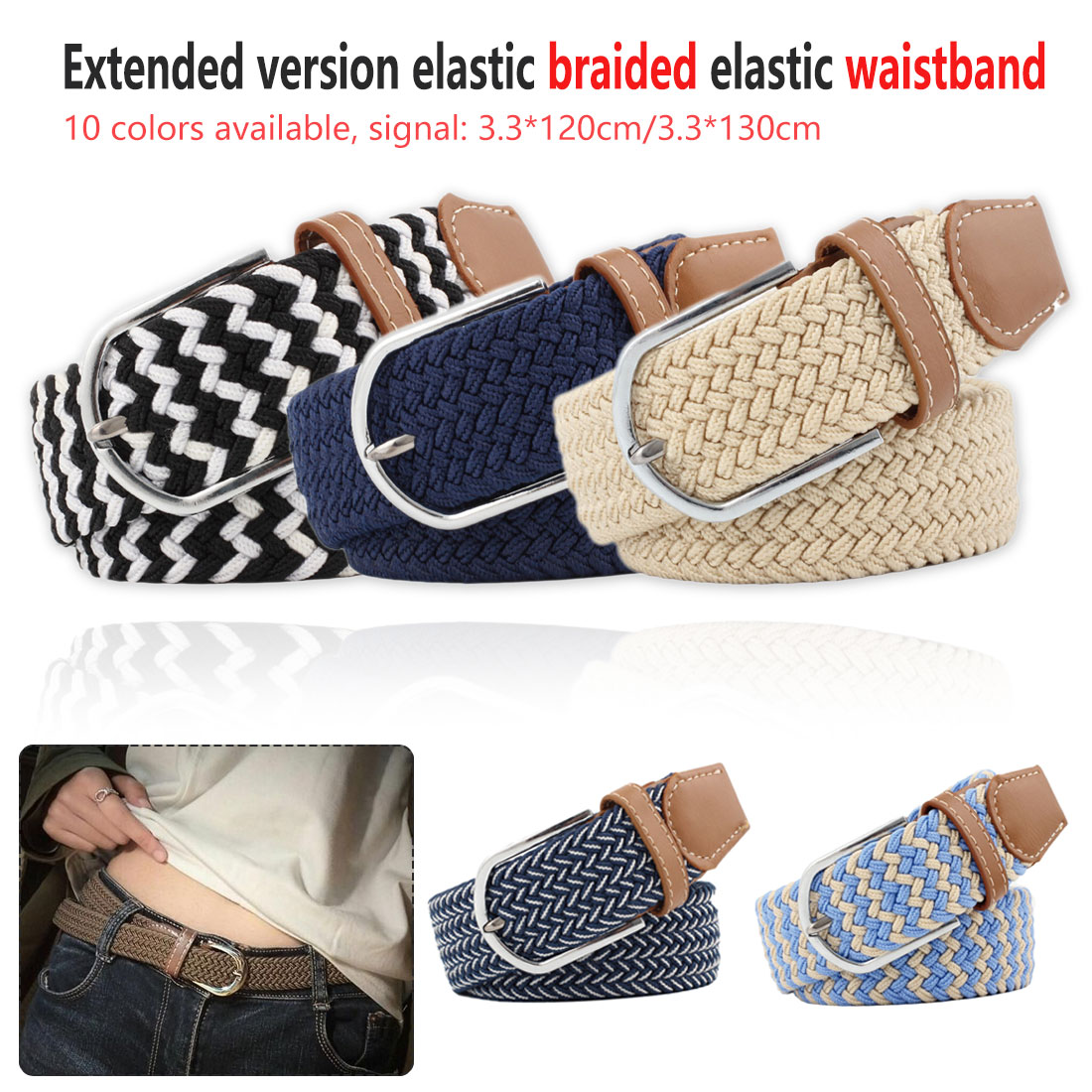 Top Quality Wide Woven Stretch Braided Elastic Leather Buckle Luxury Canvas Extended 120 cm   Belts   Male And Woman Military   Belt