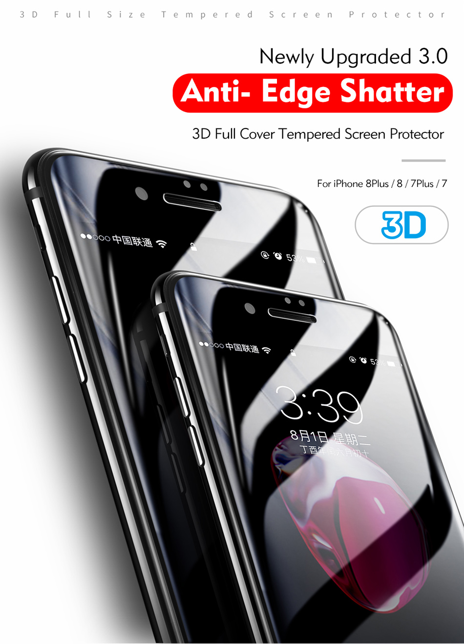 Benks 3D Tempered Glass Film For iPhone 8 7 6s Full Curved Screen Protector 0.23mm Cover Protection Front Film For iphone 6 Plus (1)