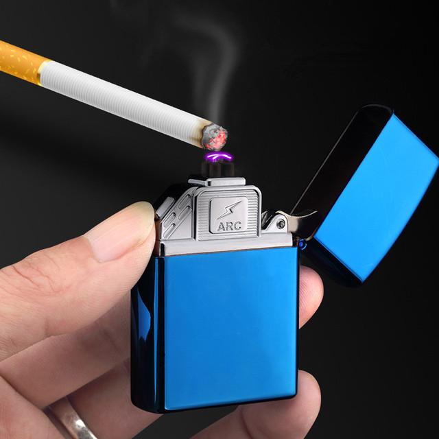 US $10 43 5% OFF 2017 USB Dual Arc Torch Lighter Rechargeable Windproof  Electronic Lighter Cigarette Double Thunder Plasma Cross DIY Custom-in