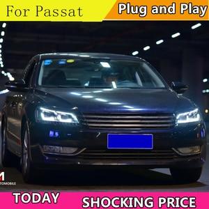 Image 3 - Car Styling for VW Passat B7 US Verson 2012 2016 Headlight For Passat B7 Headlight DRL D2H dynamic turn signal Hid Bi Xenon Beam