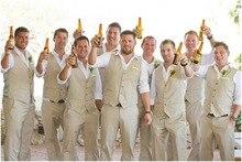 Custom Champagne Beige Men Suit Casual Linen Summer Beach Wedding Suits For Men