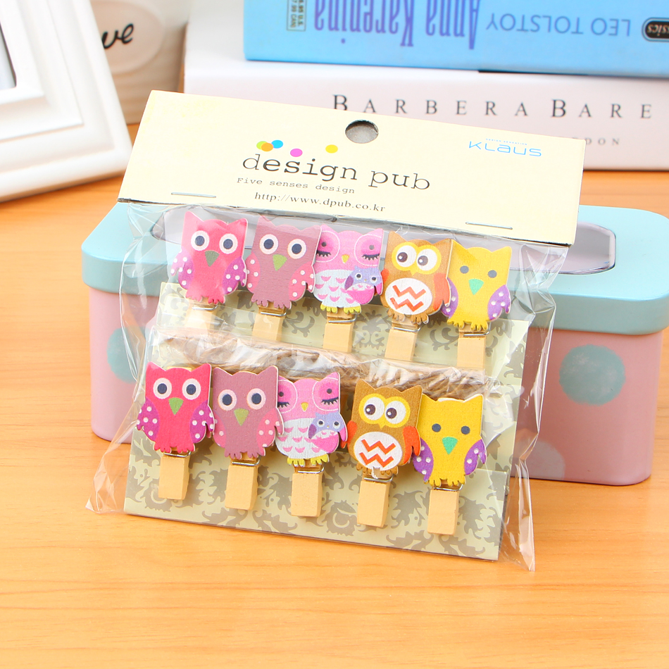 10 Pcs/lot Kawaii Owl Wooden Clip Photo Paper Craft Diy Clips With Hemp Rope Diy Free Shipping