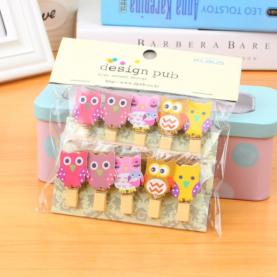 10 pcs/lot Kawaii Owl Wooden Clip Photo Paper Craft Diy Clips With Hemp Rope diy free shipping