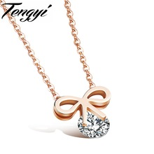 TENGYI Fashion Bowknot Rose Gold Plated Stainless Steel Crystal Rhinestone Pendant Necklace Best Gift For Women Lady HD1084