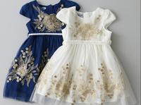 Girls Zipper Sashes Dress Children O-Neck Spring Autumn Clothing Short Sleeve Flower Floral Kid Baby Embroidery Clothes 6pcs/LOT
