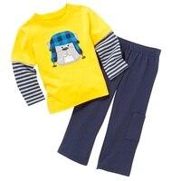 Hond Baby Jongens Lange Mouw Kleding Sets Herfst Lente Pyjama pak Kinderkleding Set Kids Sport Pak Geel Tops Harem Pant