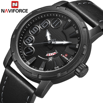 NAVIFORCE 9154 Watches Men Casual Simple Sport Quartz Leather Wristwatches with box