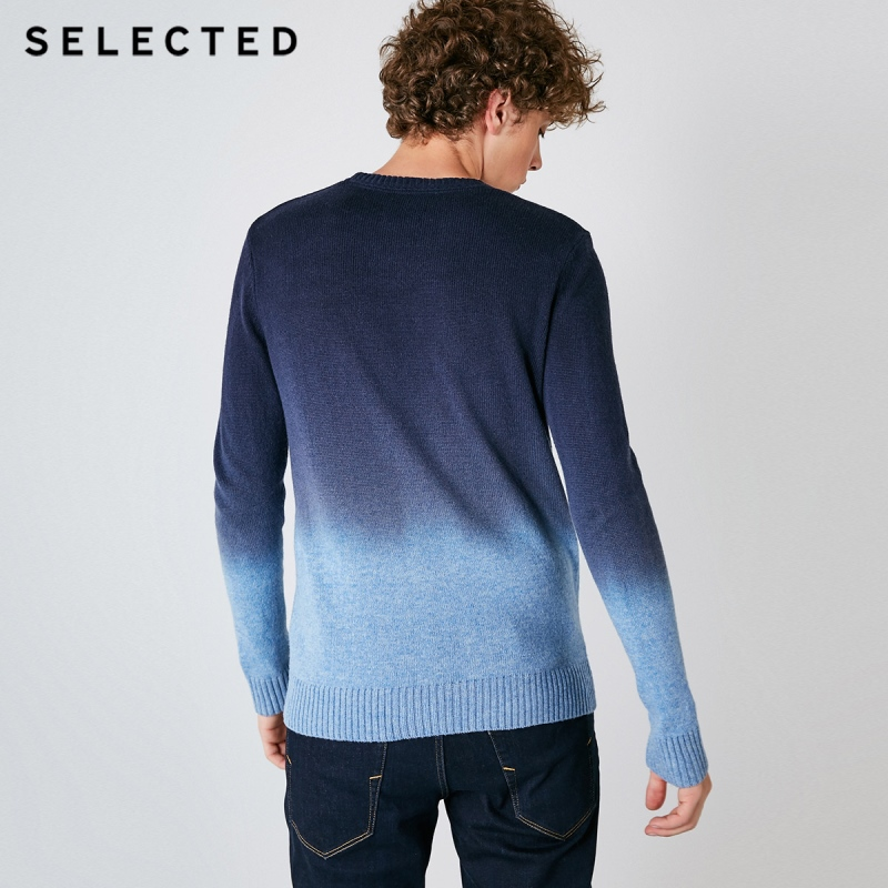 Image 3 - SELECTED Autumn Men's Sweater Pure Wool Gradual Change Business Casual Men Pullovers S  418425508-in Pullovers from Men's Clothing