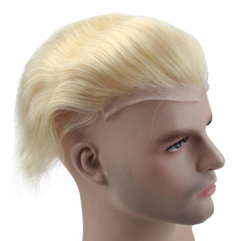 """Cabello humano para hombre peluquín de encaje francés de repuesto para hombres Peluca de piel fina europeo cabello Remy 613 Color rubio 10 """"x8"""" esewigs"""