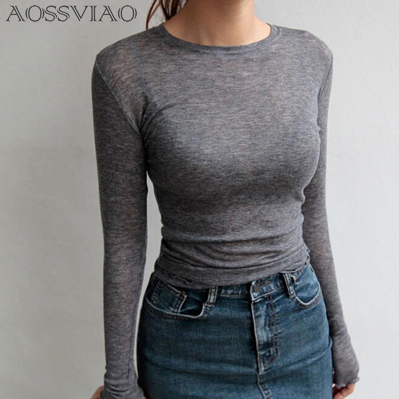 Slim High Quality Plain T Shirt Women Cotton Elastic Basic T-shirts Female Casual Tops Long Sleeve Sexy Thin T-shirt See Through