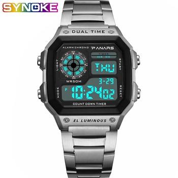 PANARS Watch Men Sport Digital Watches Chronograph 5bar Waterproof Watch Stainless Business Wristwatches LED Display Male Clock