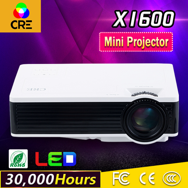 2016 brand CRE New X1600 mini projector Home Theater Video LCD Tv Cinema pico HDMI Portable Full HD 1080P LED Proyector Beamer  new arrival gp8s mini home cinema theater 1080p hd multimedia pc usb led projector av tv vga hdmi