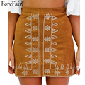 ForeFair 2016 Trend Tribe Embroidery Suede A-line Skirt Saia Women Black Brown Empire Mini Skirts Girls