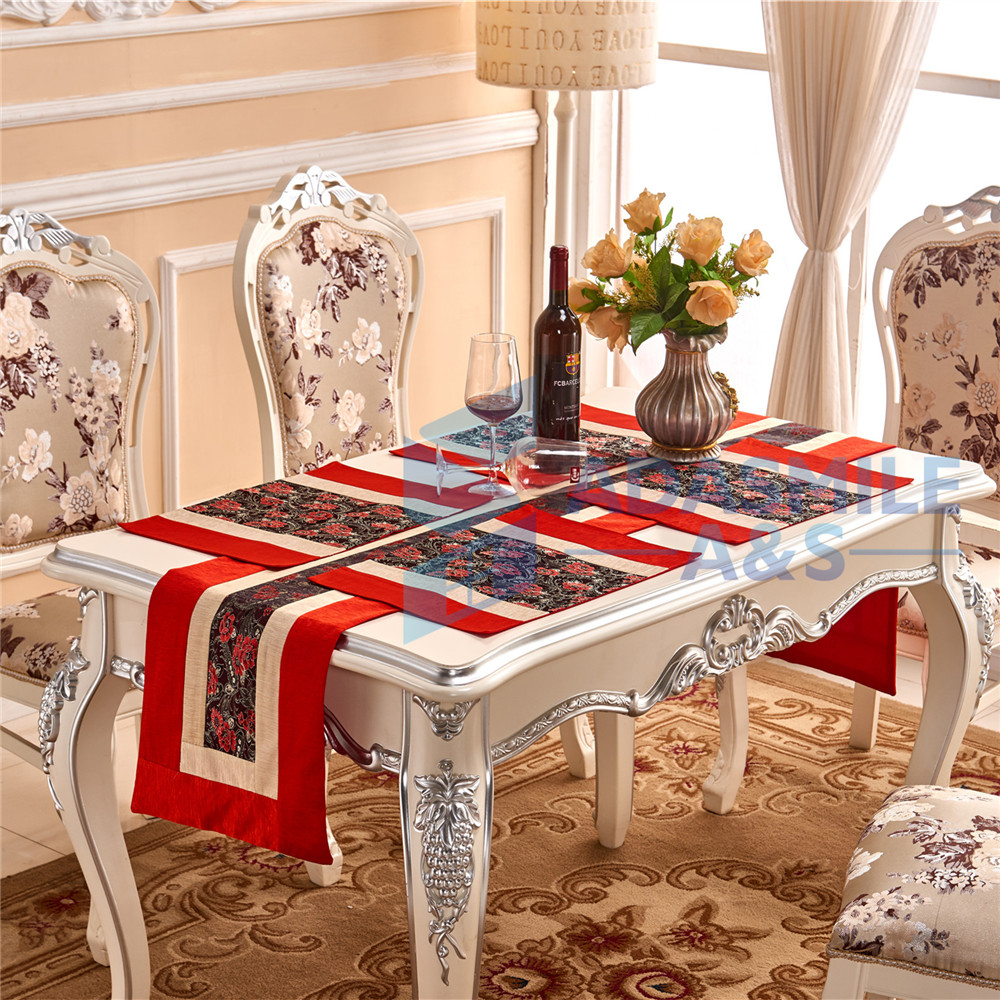 Peony Design 5pcsset Home Decoration Table Runner Sets With 4pcs