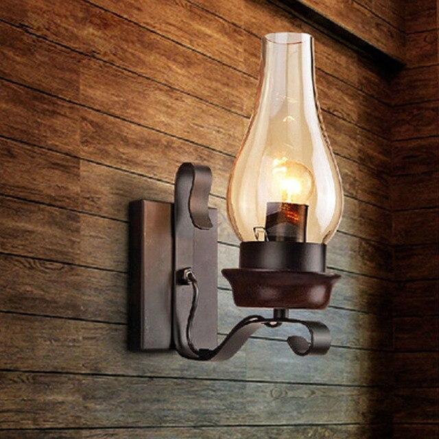New In 2017 Vintage Wall Lamp Dark Wood Color Loft Home Lighting 110v 220v Bedroom