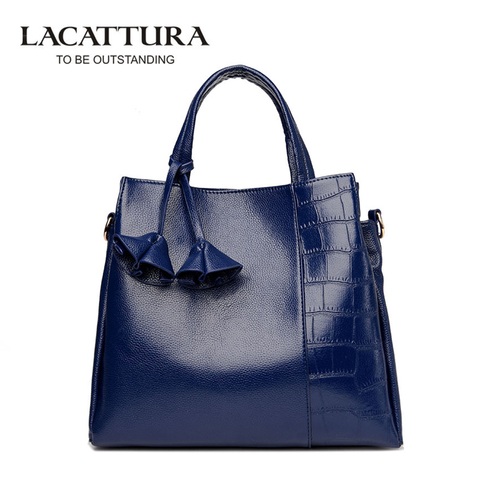LACATTURA New Fashion PU Leather Women's Handbags Ladies Shoulder Bags High Quality Stone Pattern Print Bag Casual Clutch Tote