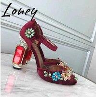Loney/новый роскошный бренд из натуральной кожи с драгоценными камнями женские туфли лодочки с круглым носком на массивном каблуке сандалии