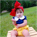 New Snow White Suit Girl T shirt + Bud Shorts+ Headband Suit Children Princess Clothing Sets Baby 3 Piece Set For Girls Clothes