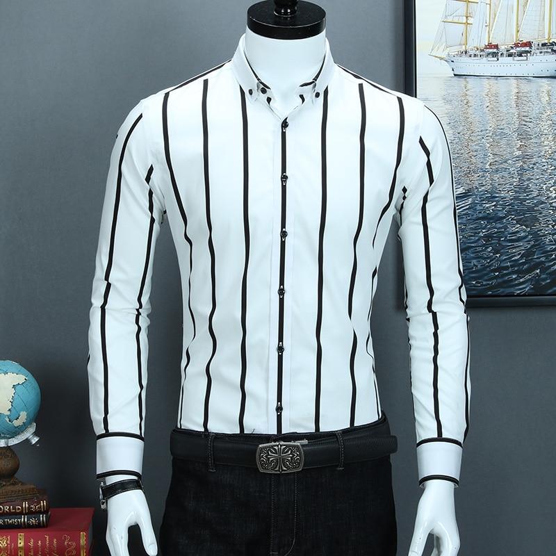 Image 3 - Мужская контрастная черно белая широкая полосатая рубашка,  удобная хлопковая Повседневная приталенная рубашка с длинным рукавом на  пуговицахРубашки-платья